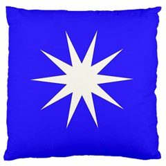 Deep Blue And White Star Large Cushion Case (two Sided)