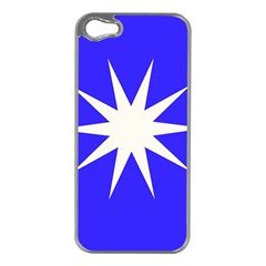 Deep Blue And White Star Apple Iphone 5 Case (silver)