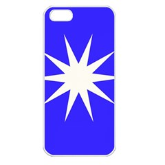 Deep Blue And White Star Apple Iphone 5 Seamless Case (white)