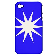 Deep Blue And White Star Apple iPhone 4/4S Hardshell Case (PC+Silicone)