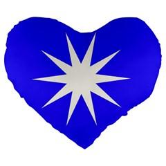 Deep Blue And White Star 19  Premium Heart Shape Cushion