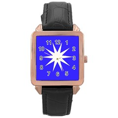 Deep Blue And White Star Rose Gold Leather Watch