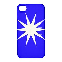 Deep Blue And White Star Apple iPhone 4/4S Hardshell Case with Stand