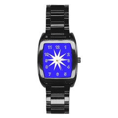 Deep Blue And White Star Stainless Steel Barrel Watch