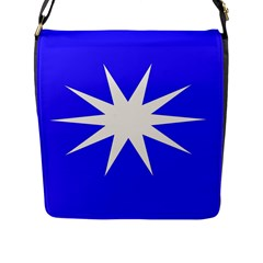 Deep Blue And White Star Flap Closure Messenger Bag (large)