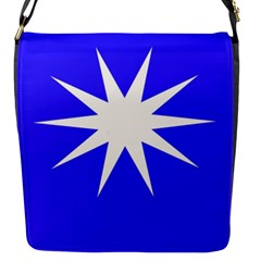 Deep Blue And White Star Flap Closure Messenger Bag (Small)