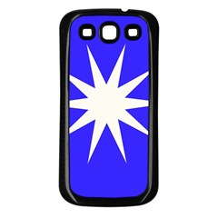 Deep Blue And White Star Samsung Galaxy S3 Back Case (Black)