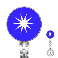 Deep Blue And White Star Stainless Steel Nurses Watch