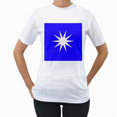 Deep Blue And White Star Women s T Shirt (white)