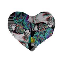Lioness Glitch 16  Premium Heart Shape Cushion