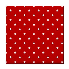 White Stars On Red Ceramic Tile