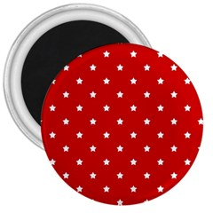 White Stars On Red 3  Button Magnet