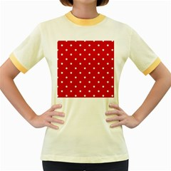 White Stars On Red Women s Ringer T Shirt (colored)