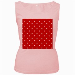 White Stars On Red Women s Tank Top (pink)