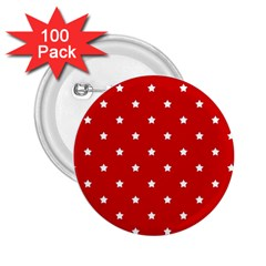 White Stars On Red 2.25  Button (100 pack)