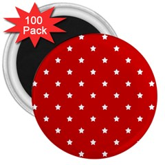 White Stars On Red 3  Button Magnet (100 pack)