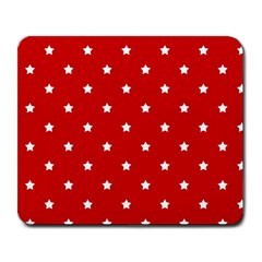 White Stars On Red Large Mouse Pad (Rectangle)
