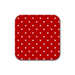 White Stars On Red Drink Coasters 4 Pack (Square)