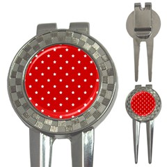 White Stars On Red Golf Pitchfork & Ball Marker