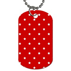 White Stars On Red Dog Tag (one Sided)