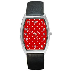 White Stars On Red Tonneau Leather Watch