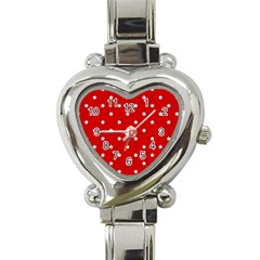 White Stars On Red Heart Italian Charm Watch