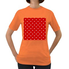 White Stars On Red Women s T-shirt (Colored)