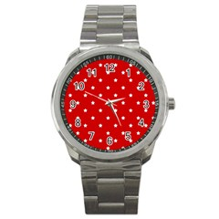 White Stars On Red Sport Metal Watch