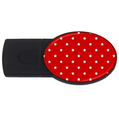 White Stars On Red 4GB USB Flash Drive (Oval)
