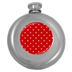 White Stars On Red Hip Flask (Round)