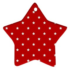 White Stars On Red Star Ornament (Two Sides)