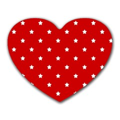 White Stars On Red Mouse Pad (Heart)
