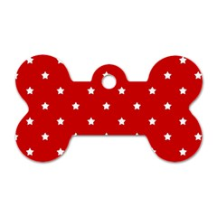 White Stars On Red Dog Tag Bone (Two Sided)