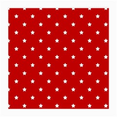 White Stars On Red Glasses Cloth (Medium, Two Sided)