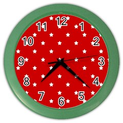 White Stars On Red Wall Clock (Color)