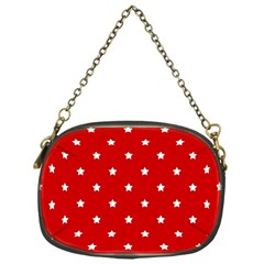 White Stars On Red Chain Purse (One Side)