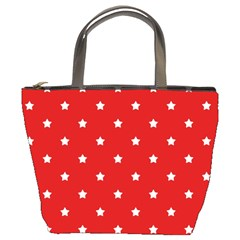 White Stars On Red Bucket Handbag