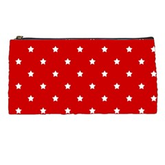 White Stars On Red Pencil Case