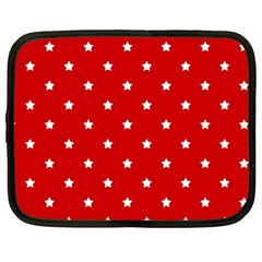 White Stars On Red Netbook Sleeve (xl)