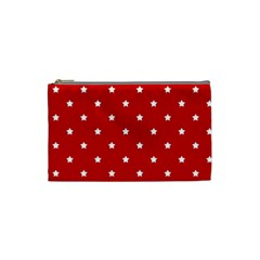 White Stars On Red Cosmetic Bag (Small)