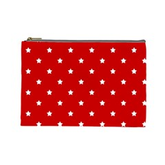 White Stars On Red Cosmetic Bag (Large)