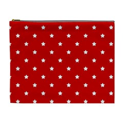 White Stars On Red Cosmetic Bag (XL)