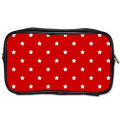 White Stars On Red Travel Toiletry Bag (one Side)