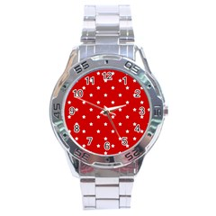 White Stars On Red Stainless Steel Watch
