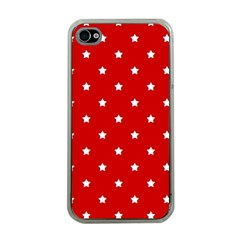 White Stars On Red Apple iPhone 4 Case (Clear)