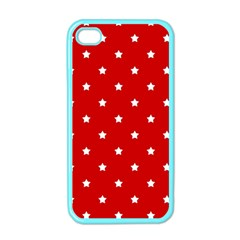 White Stars On Red Apple iPhone 4 Case (Color)