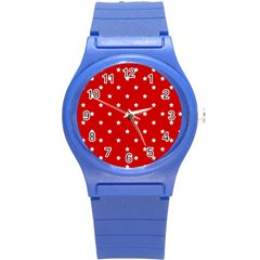 White Stars On Red Plastic Sport Watch (Small)
