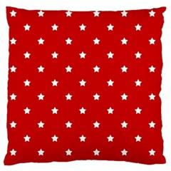 White Stars On Red Large Cushion Case (Single Sided)