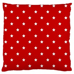 White Stars On Red Large Cushion Case (two Sided)