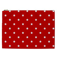 White Stars On Red Cosmetic Bag (XXL)